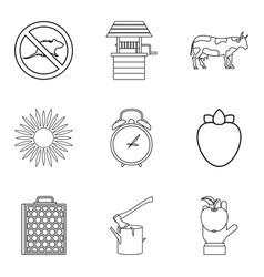 rodent icons set outline style vector image