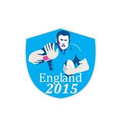 Rugby Player Fending England 2015 Shield vector image