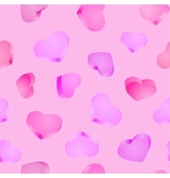 Seamless background 3D hearts Valentines day vector image