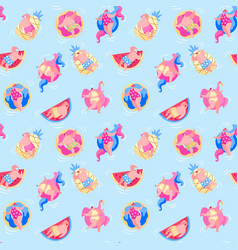 seamless pattern with people have fun relaxing vector image