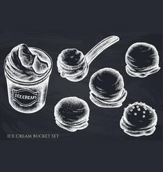 set hand drawn chalk ice cream bucket vector image