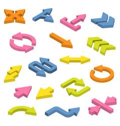 Set isometric arrows vector