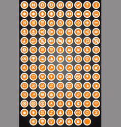 set of flat round game buttons in cartoon style vector image