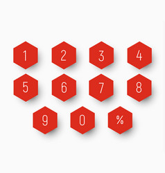 Set of numbers from 0 to 9 on button in the shape vector