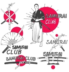 Set of samurai labels in vintage style vector