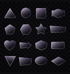 Set of transparent glass plates of different shape vector