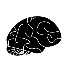 silhouette human brain idea creativity vector image