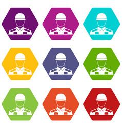 soldier icon set color hexahedron vector image