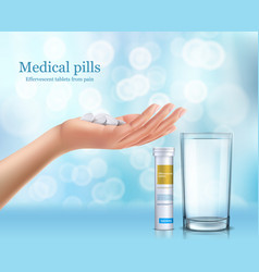 Soluble round tablets lying in the human hand vector