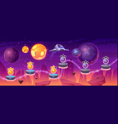 Space game level map spaceship and alien planets vector