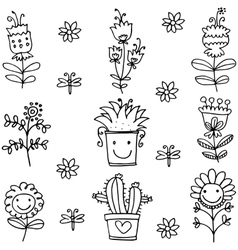 Spring item doodles collection vector