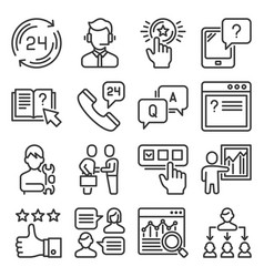 support and service icons set on white background vector image