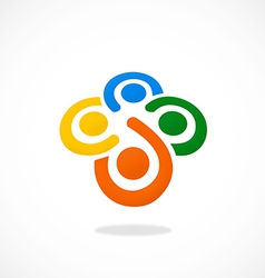 teamwork diversity people circle logo vector image