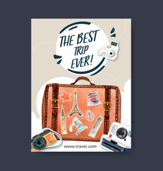 Tourism day poster design with baggage polaroid vector