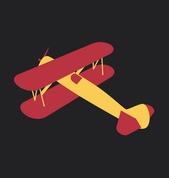 Toy airplane flying in flat style on background vector