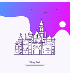 Travel disney land poster template purple vector