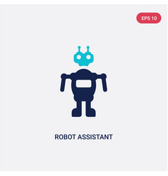 Two color robot assistant icon from artificial vector