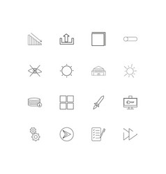 user interface linear thin icons set outlined vector image