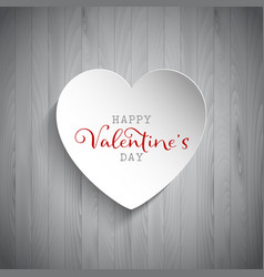 Valentines day heart on wood background vector