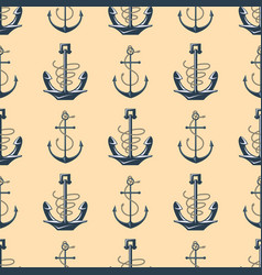 Vintage retro anchor badge seamless pattern vector