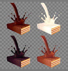 wafer in chocolate splash 3d realistic set vector image