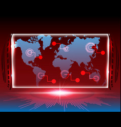 World map cyber line attack by hacker concept vector