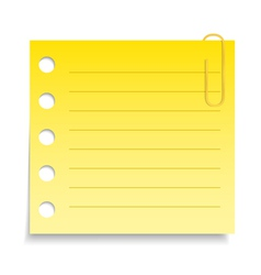 Yellow Paper Note with Clip vector image