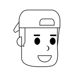 Young man smiling wearing backwards hat icon image vector
