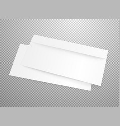 blank white envelope mockup isolated on vector image