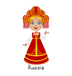 girl in russia country national clothes wearing vector image vector image