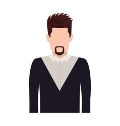 Half body silhouette man with van dyke beard vector