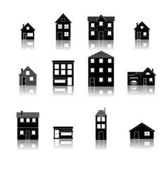 Modern trendy retro house street flat icons set vector image
