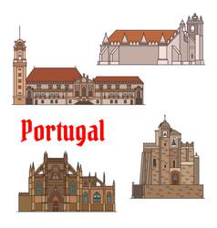 portuguese travel landmarks thin line icon set vector image vector image