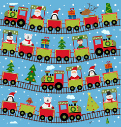 seamless pattern train with christmas characters vector image vector image