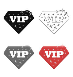 vip icon in cartoon style isolated on white vector image