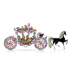 carriage floral vector image