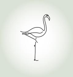 Flamingo in a minimal line style vector image vector image