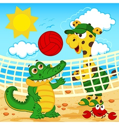 giraffe crocodile playing in beach volleyball vector image vector image