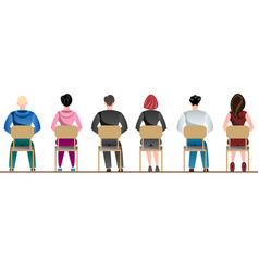people sitting back view vector image