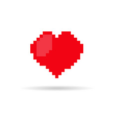 pixel style heart icon vector image