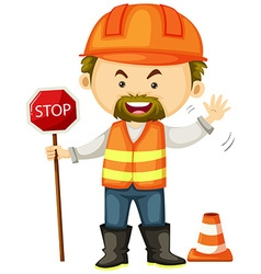 Road worker with stop sign vector image