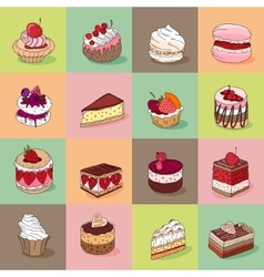 Seamless pattern with different kinds of dessert vector image vector image