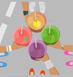 sport girls holging smoothies in hands top view vector image vector image