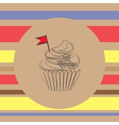 background with scetch of cupcake vector image vector image