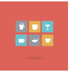 cups with different drinks icon vector image