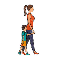 Drawing mom walking her son holding hands vector
