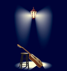 guitar in the street lantern vector image vector image