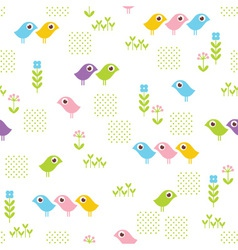 seamless floral pattern with funny birds vector image vector image