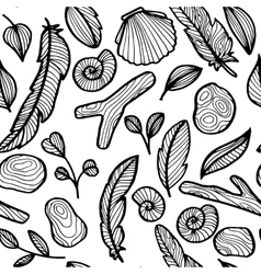 seamless pattern with nature objects vector image