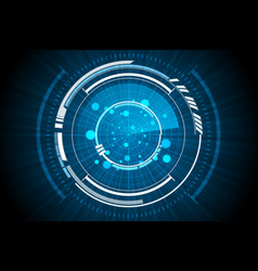 Blue technology inside spaceship radar background vector